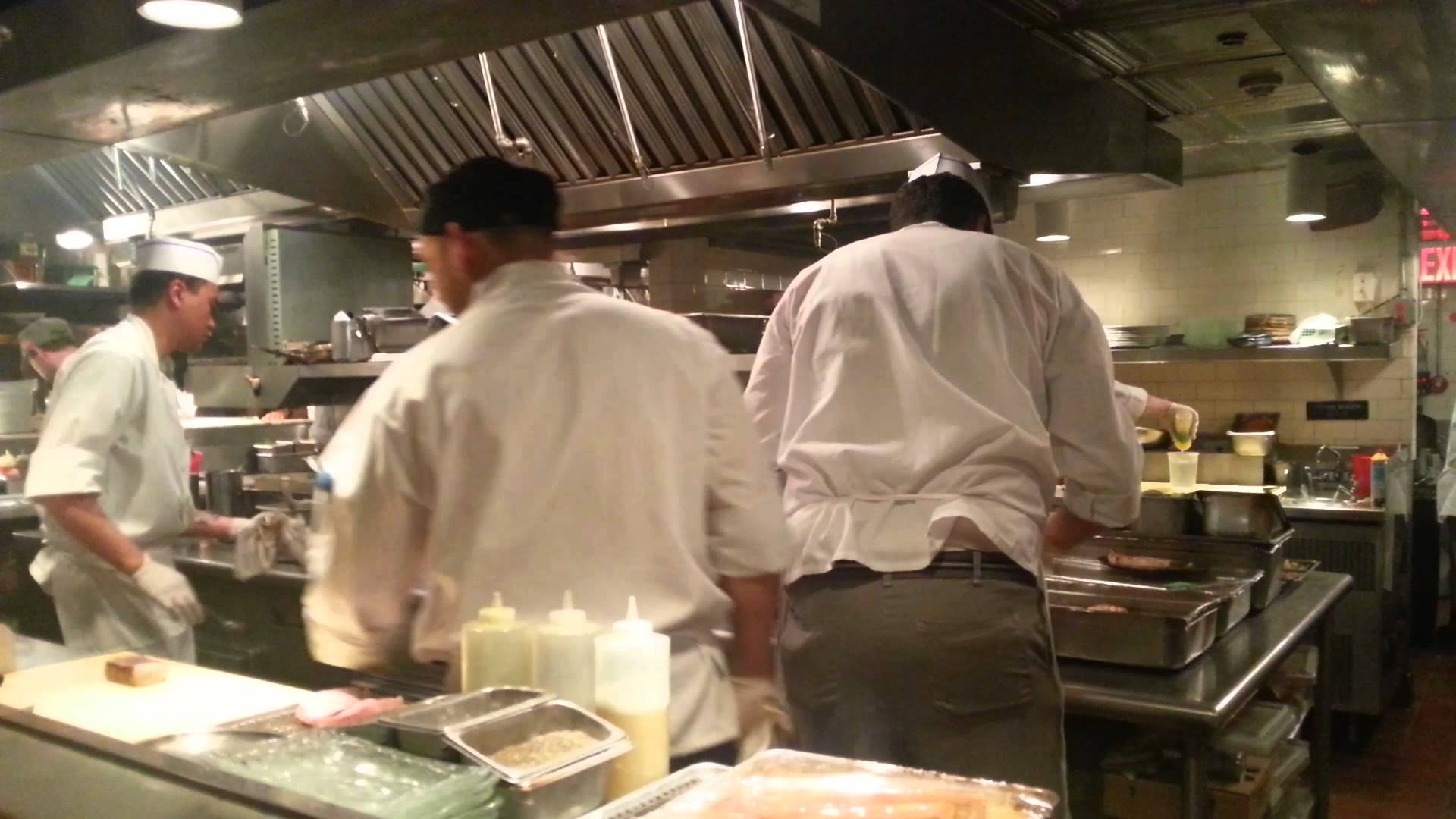 busy kitchen servers